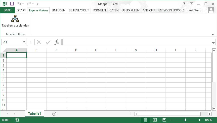 Ein Tabellenblatt nur ausblenden oder verstecken - VBA-Hexerei