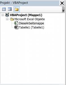 VBA Editor - Projektexplorer