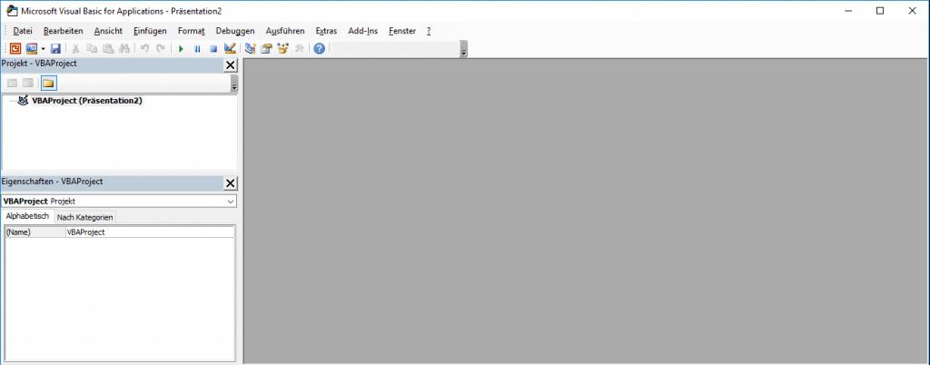 VBA Editor ohne Modul